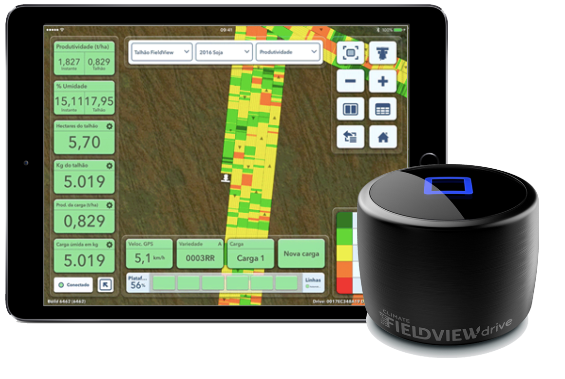 FieldView Drive y tablet mostrando el mapeo